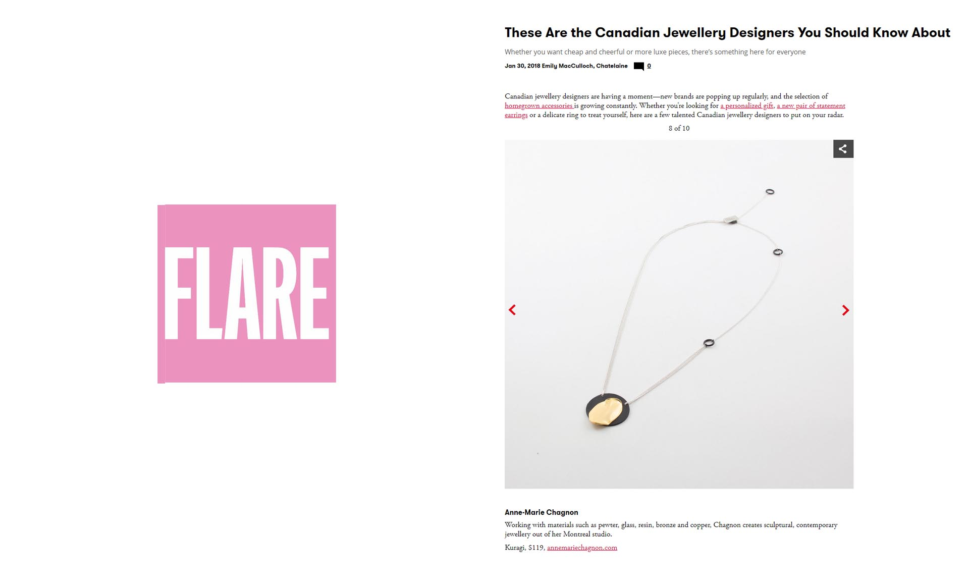 Anne-Marie Chagnon on the top 10 of Canadian Jewellery designers, by Flare Magazine