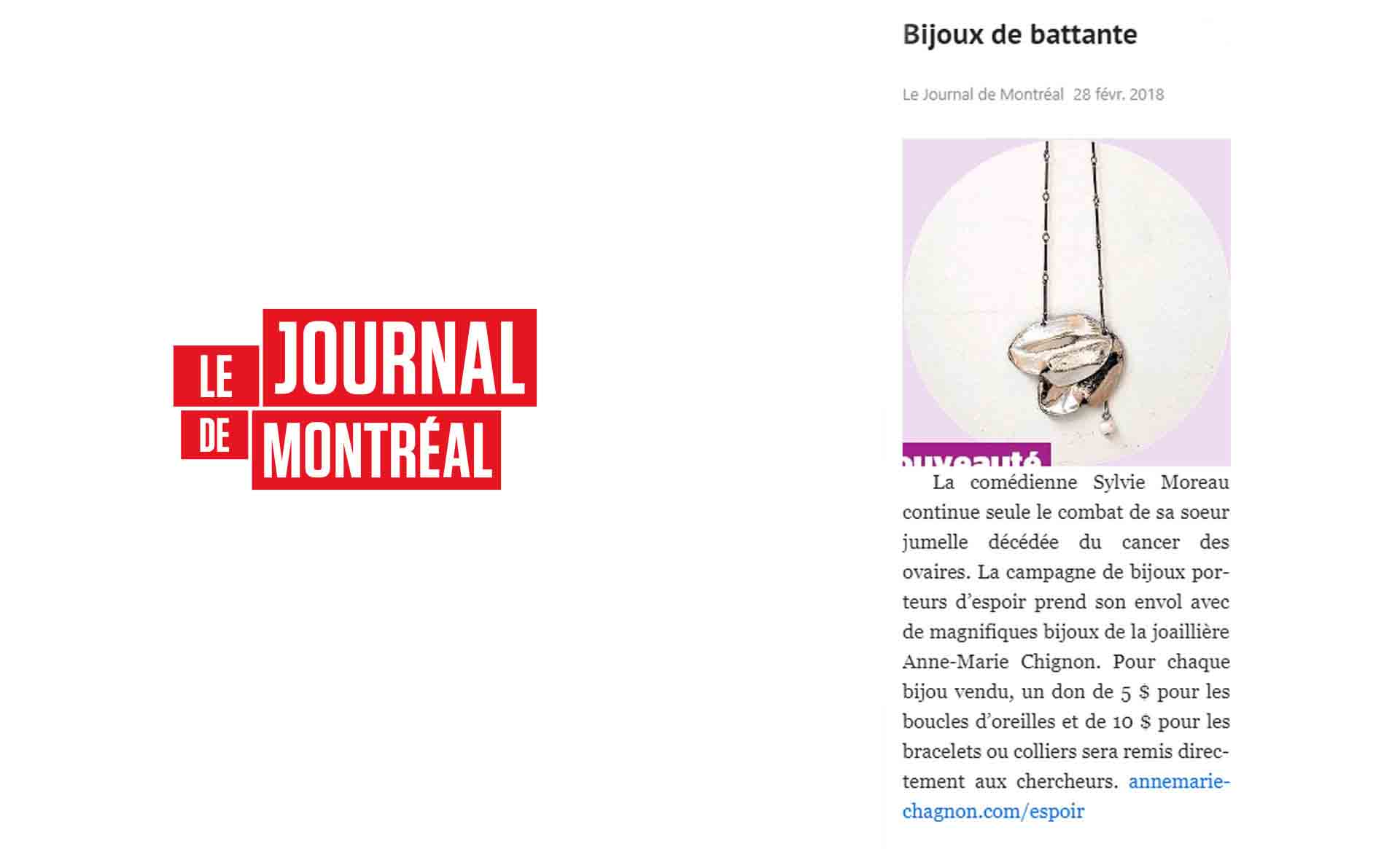 Le Journal de Montréal speaks about the PEARLS OF LIFE collection