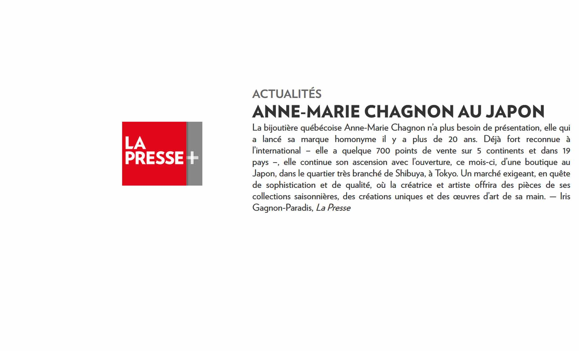 Anne-Marie Chagnon for La Presse plus