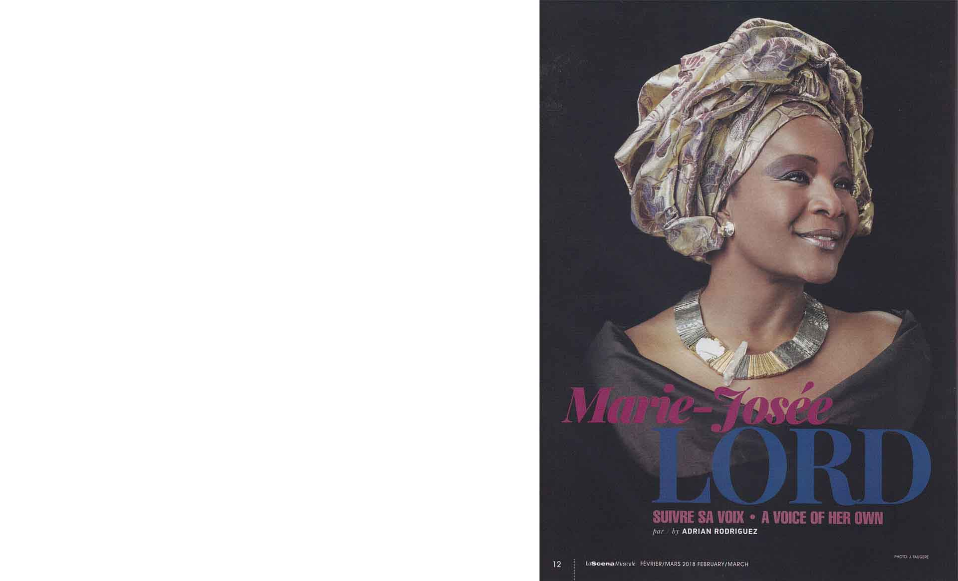 Marie-Josée Lord sporting a unique piece by Anne-Marie Chagnon, in the magazine La Scena Musicale