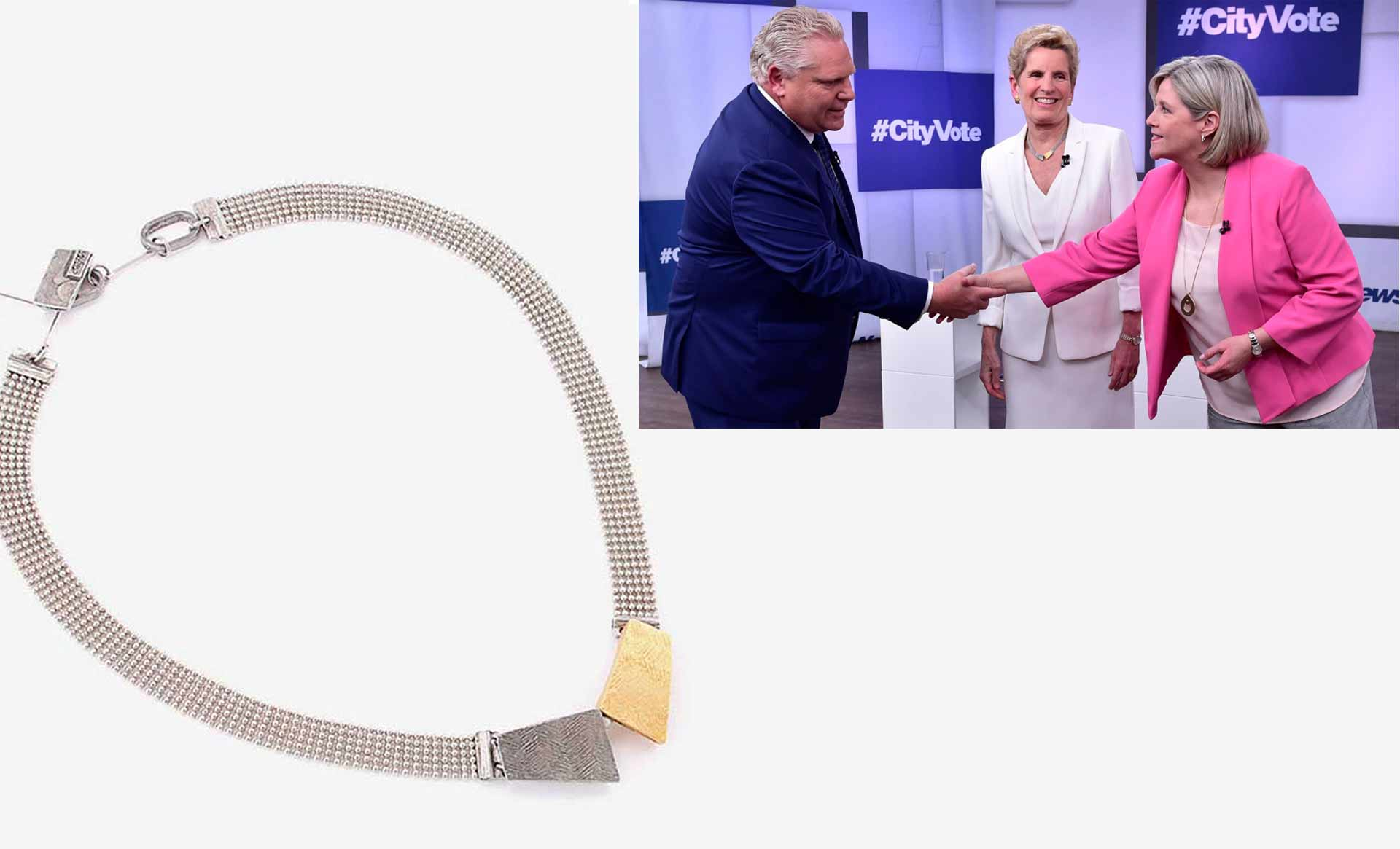 Kathleen Wynne wears the necklace Ève for the first electoral debate