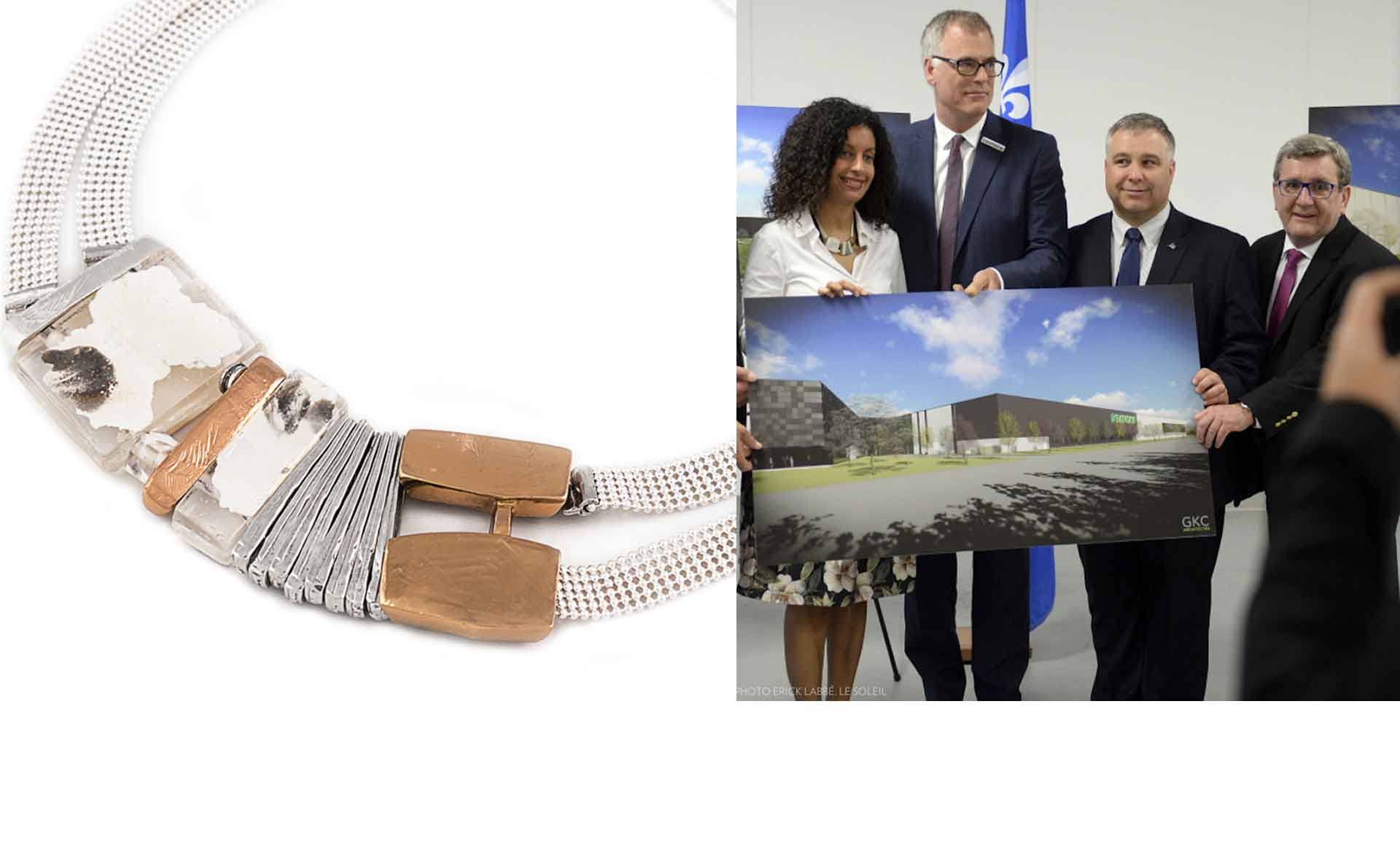 Deputy Prime Minister Dominique Anglades wears an Anne-Marie Chagnon's necklace in the newspaper La Presse plus