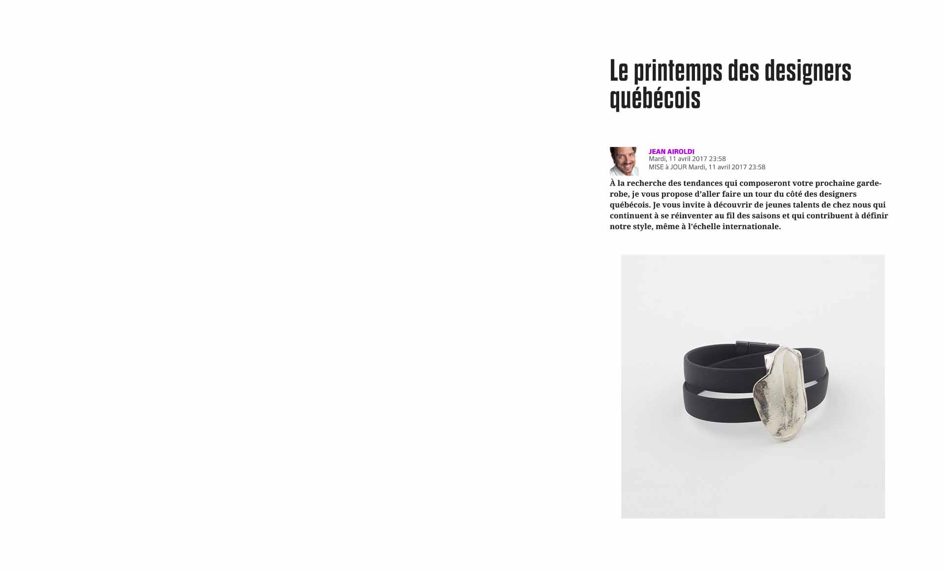 The Quebecois designers by Le Journal de Montréal