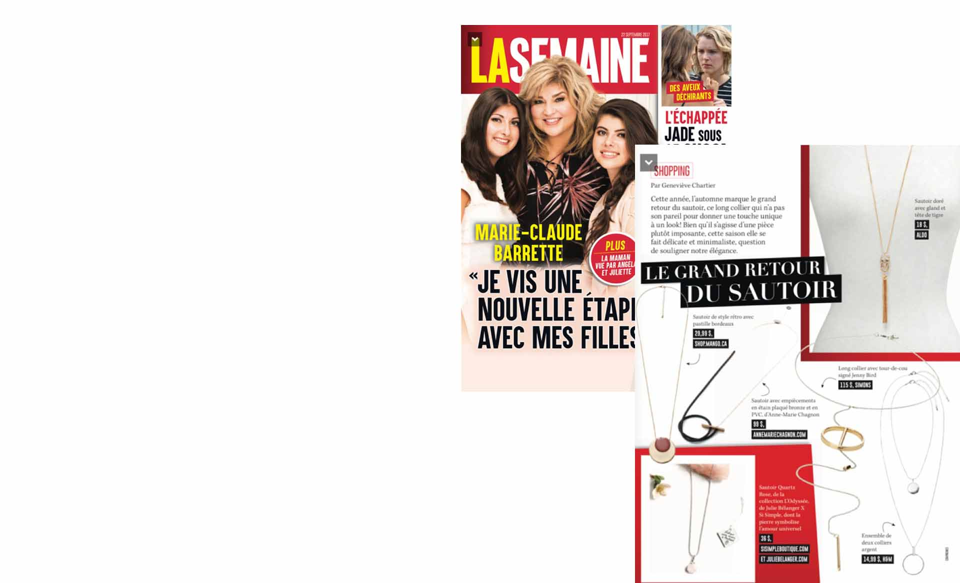 The long necklace in star in the La semaine magazine