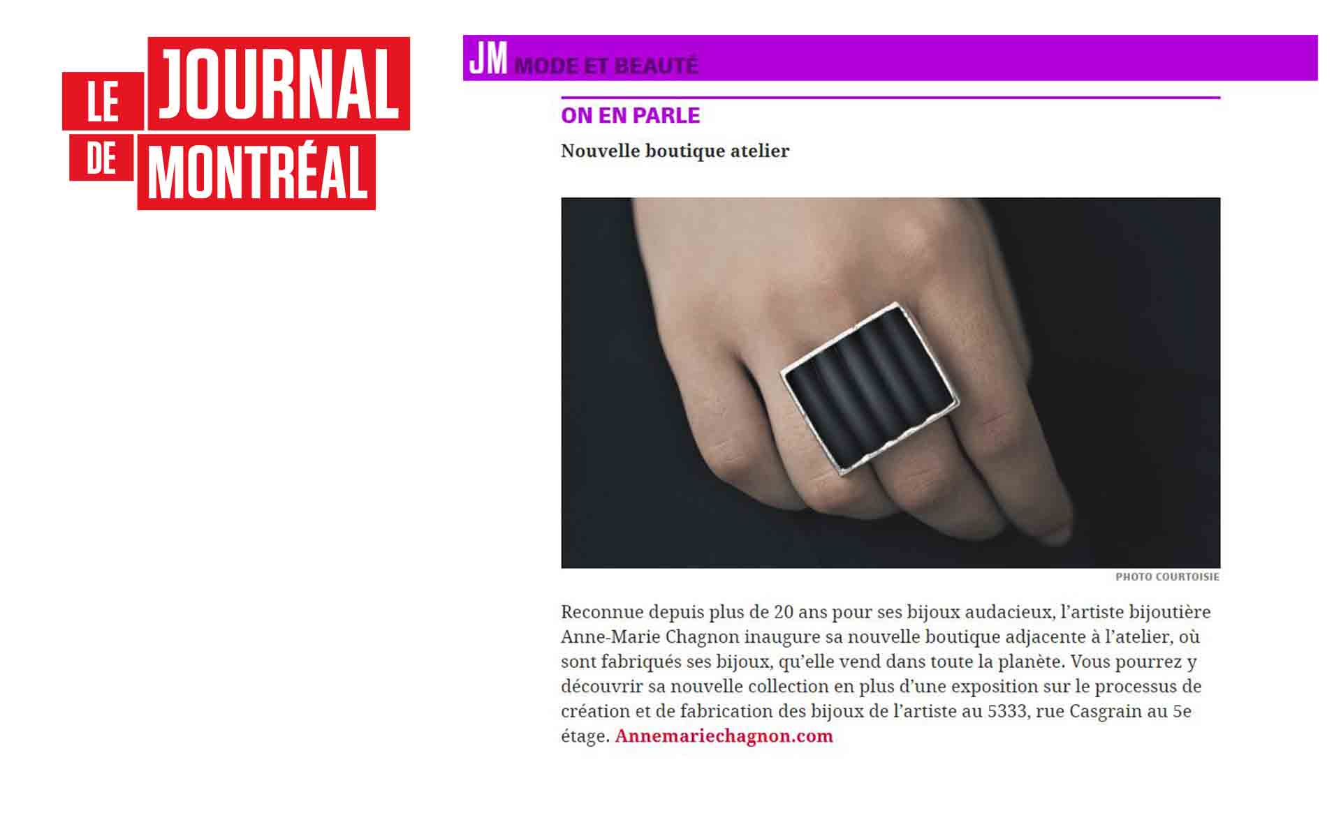 Inauguration of the new studio boutique// LE JOURNAL DE MONTREAL speaks about it