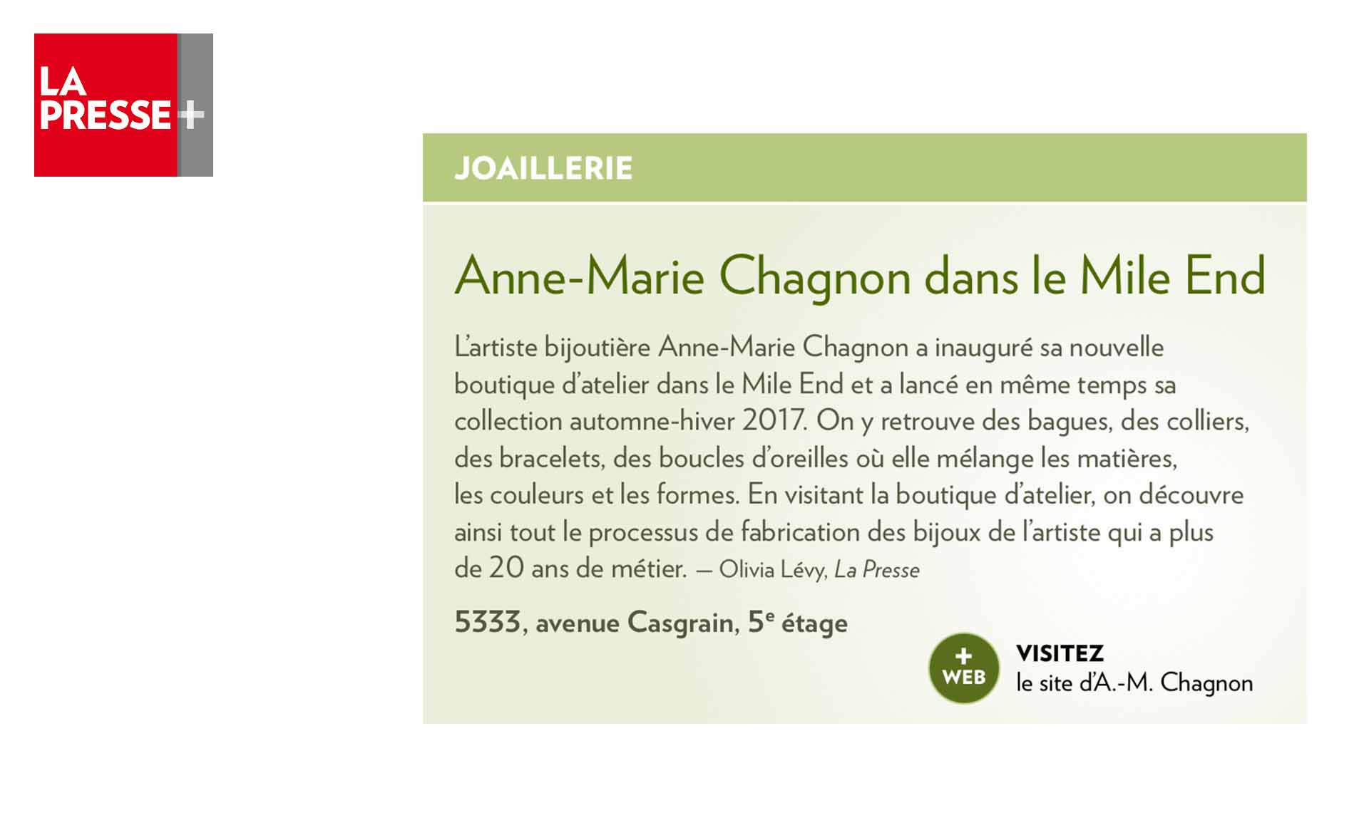 Anne-Marie Chagnon in La Presse plus